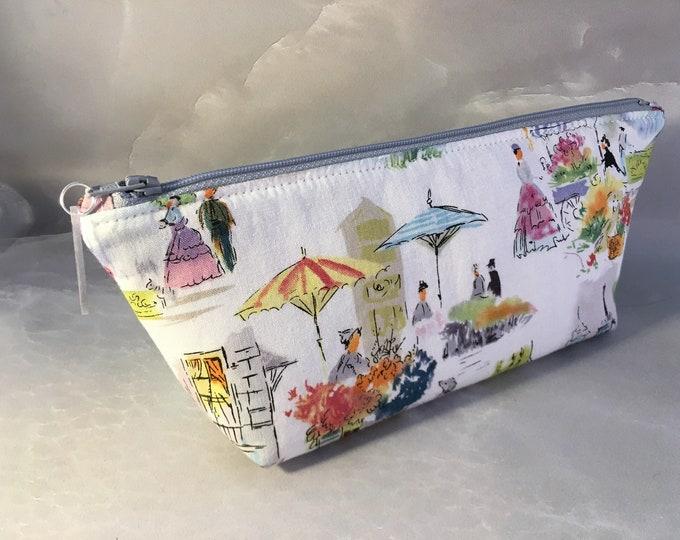 Paris In Watercolors Handmade MakeUp Bag