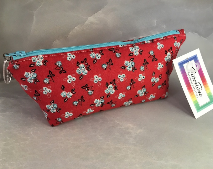 Blue and White Mini Floral On Red Makeup Bag