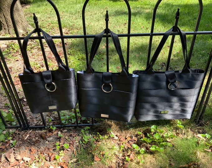 Limited Edition!  Handmade Textured Black Seat Belt Bag/Tote