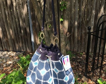 Blue Geometric Handmade Draw String Shoulder Bag