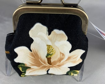 Magnolia on Black Small Kiss Lock Change Purse;