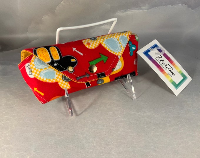 Primary Color Cars On Red Handmade Eyeglass/Sunglass Case