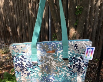 Blue and Gray Foliage Large Top Zip Handmade Tote Bag - LAST ONE!