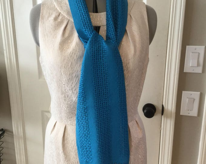 Handwoven Semi-Open Weave Aquamarine Colored Tencel Scarf