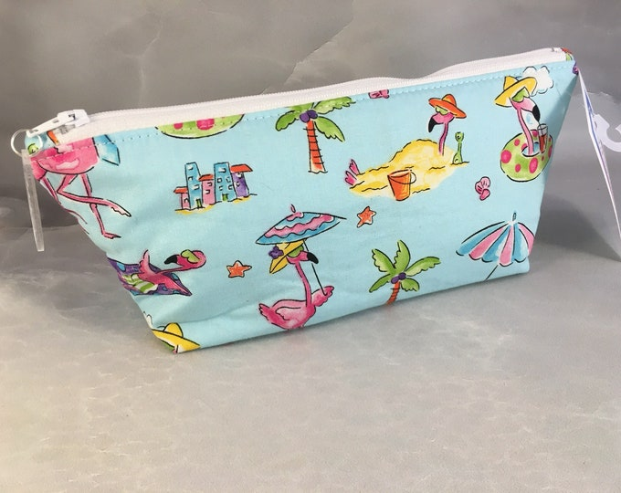 Flamingos At The Beach Handcrafted  Make Up Bag