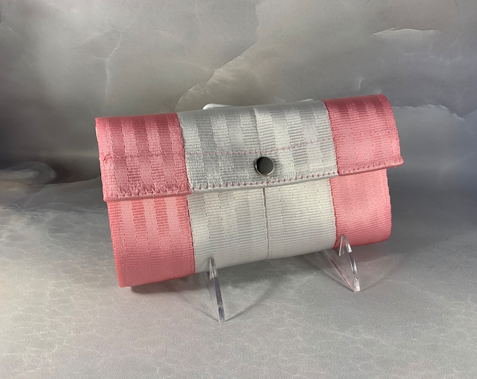"""The Brand New """"Bailey"""" Seat Belt Wallet In Bubble Gum & White from FiberTime!"""
