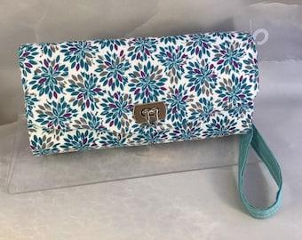 Aqua Purple Gray Handmade Clutch/Wallet
