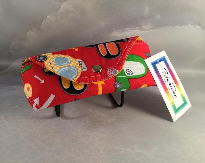 Primary Cars on Red Handmade Eyeglass/Sunglass Case