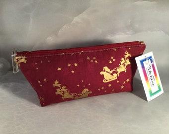 Burgundy and Gold Santa and Sleigh Make Up Bag