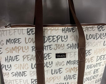 Inspired Script Large Top Zip Handmade Tote Bag