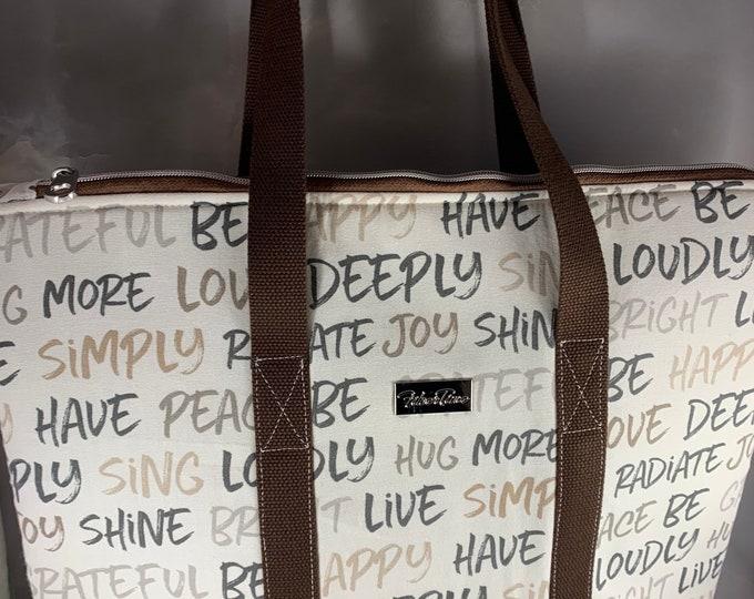 Inspired Script Large Top Zip Handmade Tote Bag