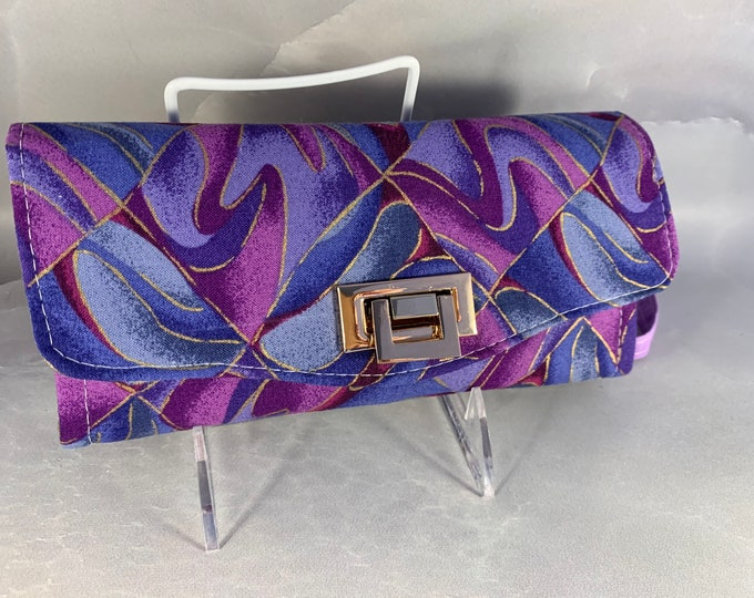 Blue Purple and Gold Swirl Handcrafted Clutch/Wallet With Wrist Strap