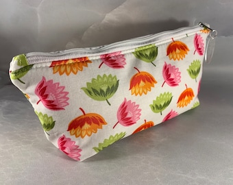 Orange, Pink and Lime Stylized Floral Handcrafted Make Up Bag