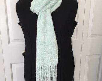 Handwoven Super Bulky Pale Pistachio Green Rayon Chenille Scarf