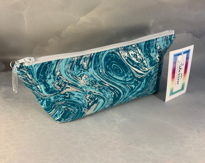 Blue and Silver Swirls MakeUp Bag