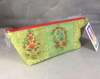 Green and Yellow Floral Tiles Handmade Makeup Bag
