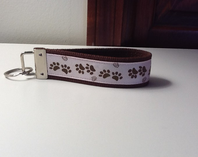 Pink and Brown Paw Print Key Fob