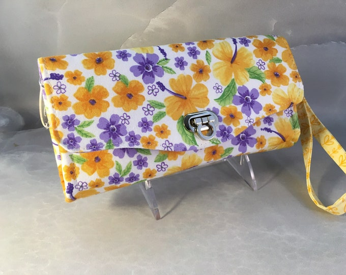 Purple and Yellow Floral Handmade Clutch/Wallet With Wrist Strap