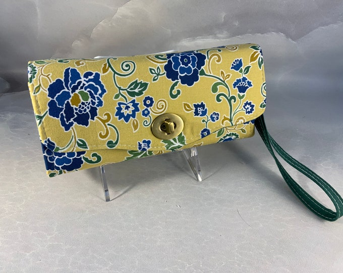 Handmade Blue Green Jacobean Clutch/Wallet With Wrist Strap