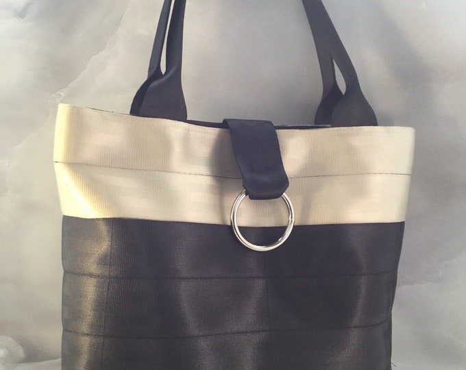 Handmade Beige And Black Block Seat Belt Bag/Tote