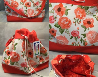 Coral Flowers On White Handmade Draw String Shoulder Bag