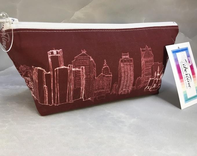 Detroit Skyline Custom Printed Fabric Handmade Makeup Bag