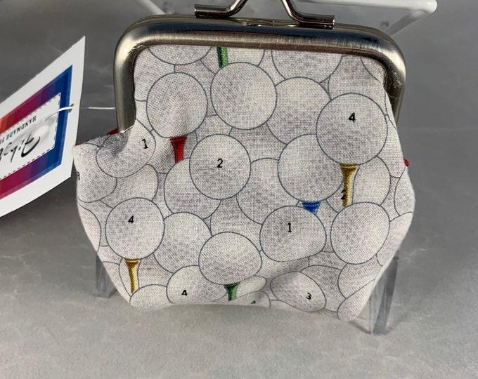 Golf Balls and Tees Small Kiss Lock Change Purse