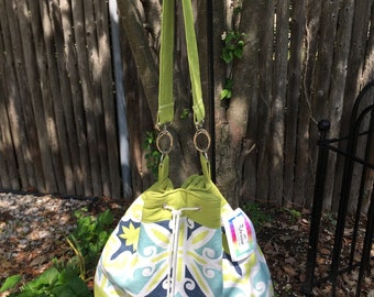 Bright Green, Blue and White Handmade DrawString Shoulder Bag