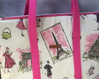 Paris Style Zip Top Handmade Tote Bag - LAST ONE!