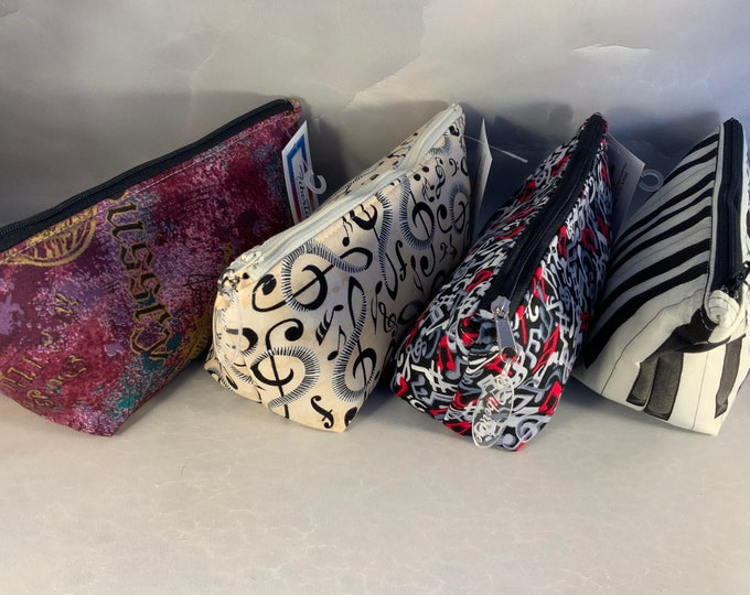 Music Themed Triangle Pouch/Make Up Bags