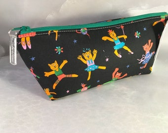 Dancing Cats On Black MakeUp Bag