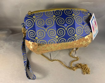 Blue and Gold Crossbody Wristlet Pouch