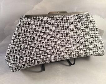 Black and White Medium Clutch Bag