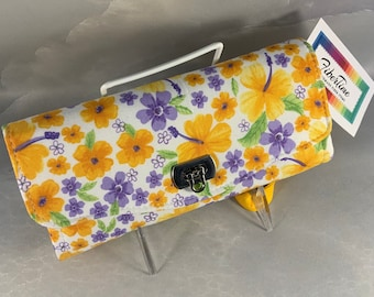 Purple and Yellow Floral Handcrafted Clutch/Wallet