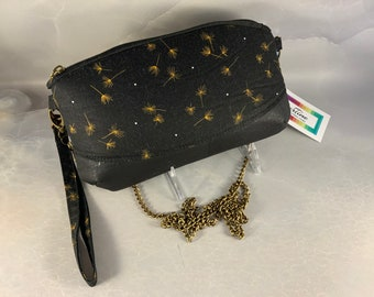 Gold Dandelions on Black Crossbody Wristlet Pouch