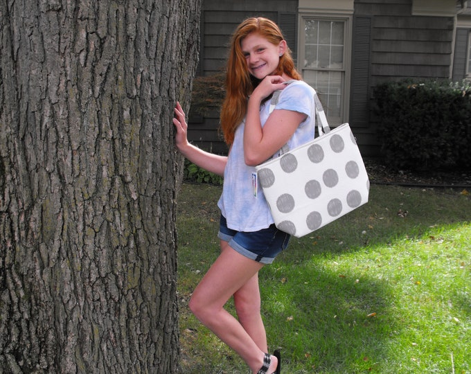 "End of Season SALE!  Handmade  ""Gray Circles On White"" Handmade Tote Bag"