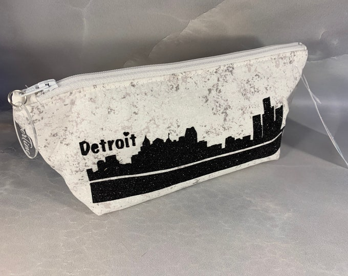 Black Detroit HTV Glitter Make Up Bag