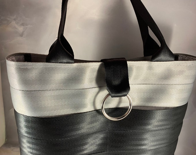 Handmade Large Silver And Gray 2 Block Seat Belt Bag/Tote