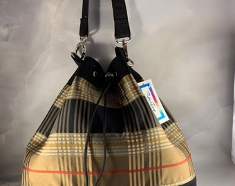 One Of A Kind!  Black Brown Red and Tan Plaid Drawstring Bucket Bag