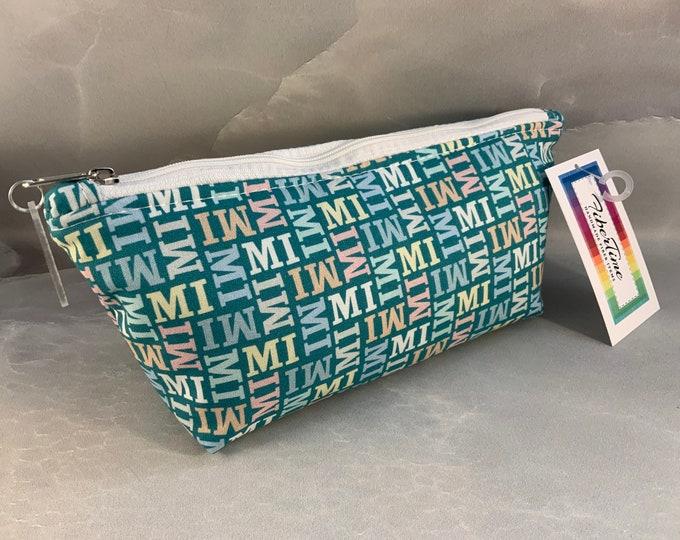 My MI Aqua Handrafted Triangle Pouch/Make Up Bag