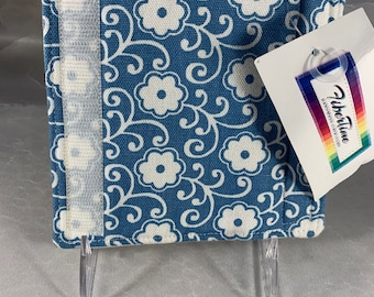Blue and White Floral Print Luggage Handle Wrap