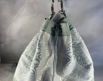 Sage and Silver Stylized Floral Drawstring Bucket Bag - ONE OF A KIND!