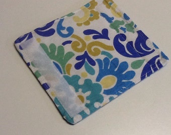 White, Blue, Green And Gold Floral Luggage Handle Wrap