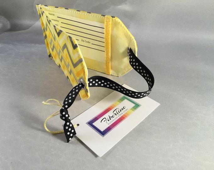 Handmade Yellow/Gray Chevron Luggage Tag
