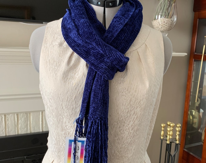 Handwoven Navy Blue Rayon Chenille Scarf