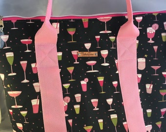 Martinis and Daiquiris Large Zip Top Handmade Tote Bag