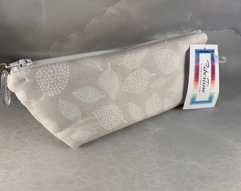 Taupe And Cream Leaves Handcrafted Triangle Pouch