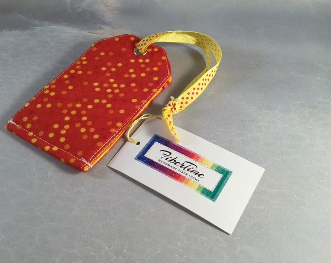 Handmade Red With Yellow Dots Luggage Tag