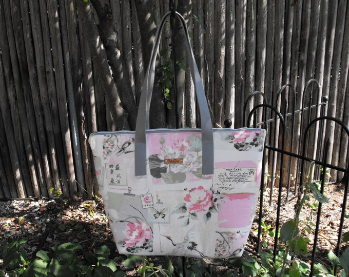 Pink White Green & Silver Large Top Zip Handmade Tote Bag