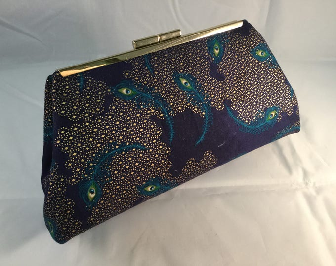 Navy And Teal Peacock Feathers Medium Clutch Bag
